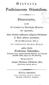 Schmidius F. Historia Paulicianorum Orientalium
